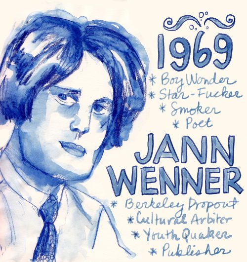 Jann Wenner sketch by Alison Garwood-Jones