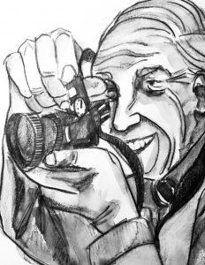 Bill Cunningham watercolour by Alison Garwood-Jones
