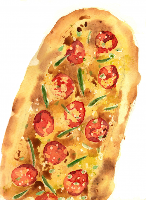 Pizza painting by Alison Garwood-Jones