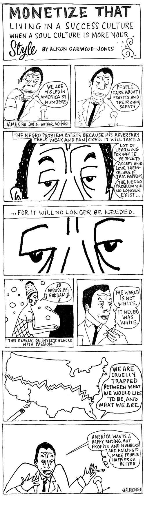 James Baldwin cartoon by Alison Garwood-Jones