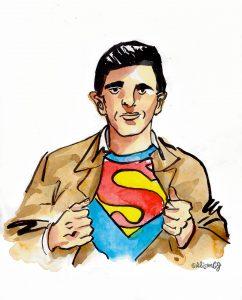Joe Shuster as Superman, by Alison Garwood-Jones