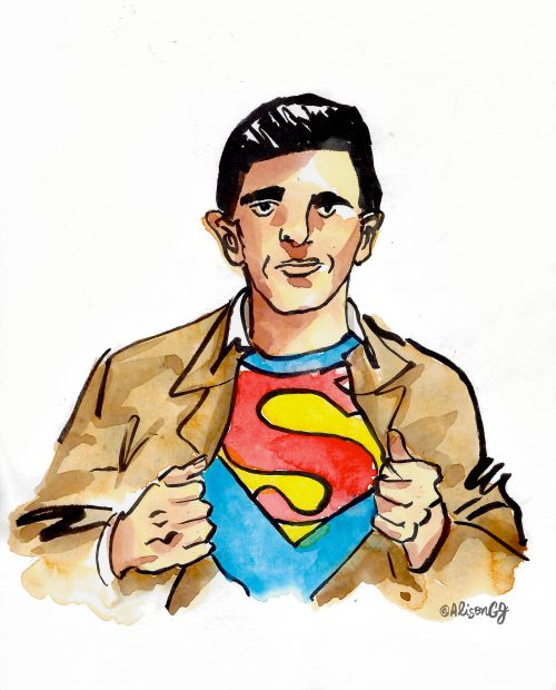 Joe Shuster as Superman, by Alison Garwood-Jones