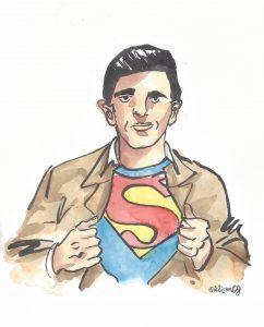 Joe Shuster sketch by Alison Garwood-Jones