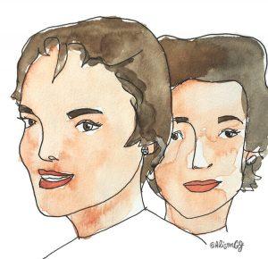 Jacqueline and Lee Bouvier illustration by Alison Garwood-Jones