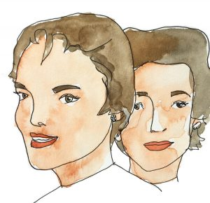 Jacqueline and Lee Bouvier watercolour illustration by Alison Garwood-Jones