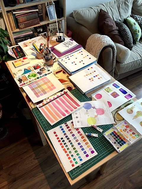 "The Ikea ""art desk"" belonging to Alison Garwood-Jones"