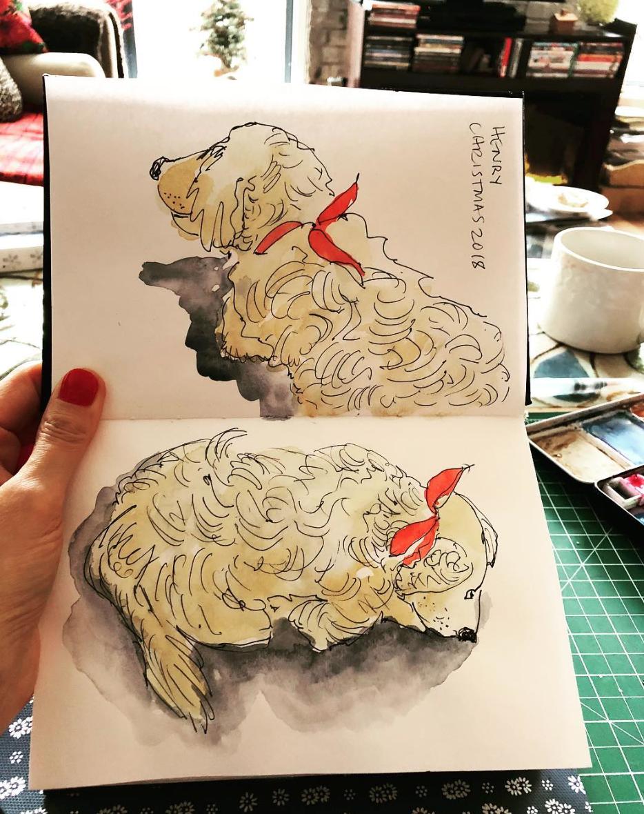 Dog drawing by Alison Garwood-Jones
