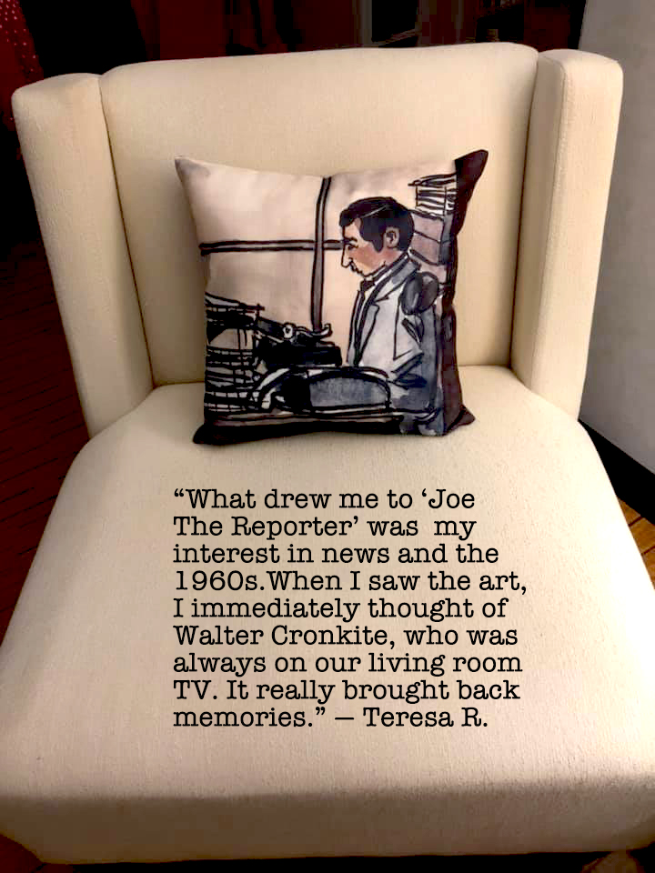 Joe The Reporter Throw Pillow by PenJarProductions.com