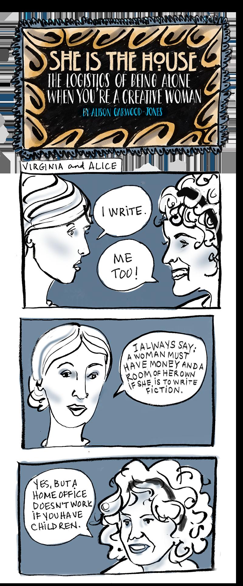 Virginia Woolf and Alice Munro Comic Strip by Alison Garwood-Jones