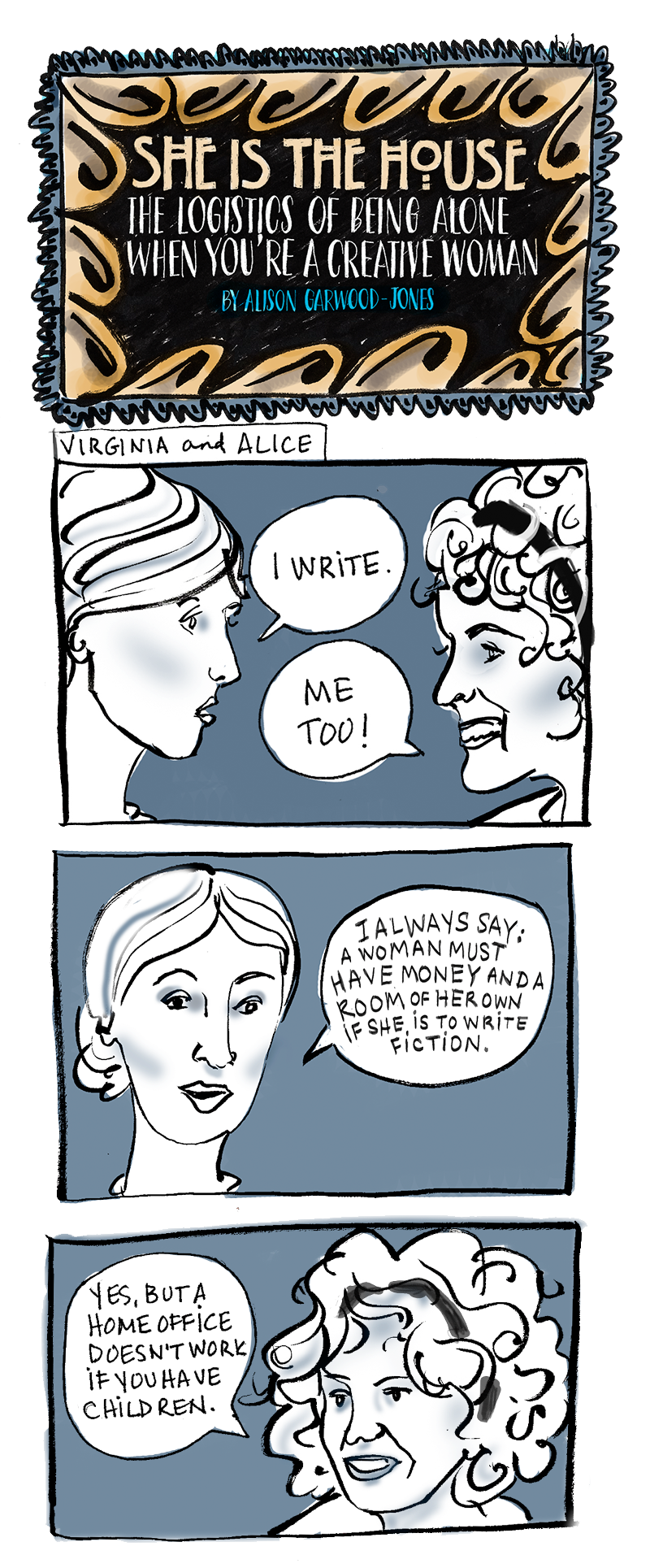 Virginia Woolf and Alice Munro in conversation - comic by Alison Garwood-Jones