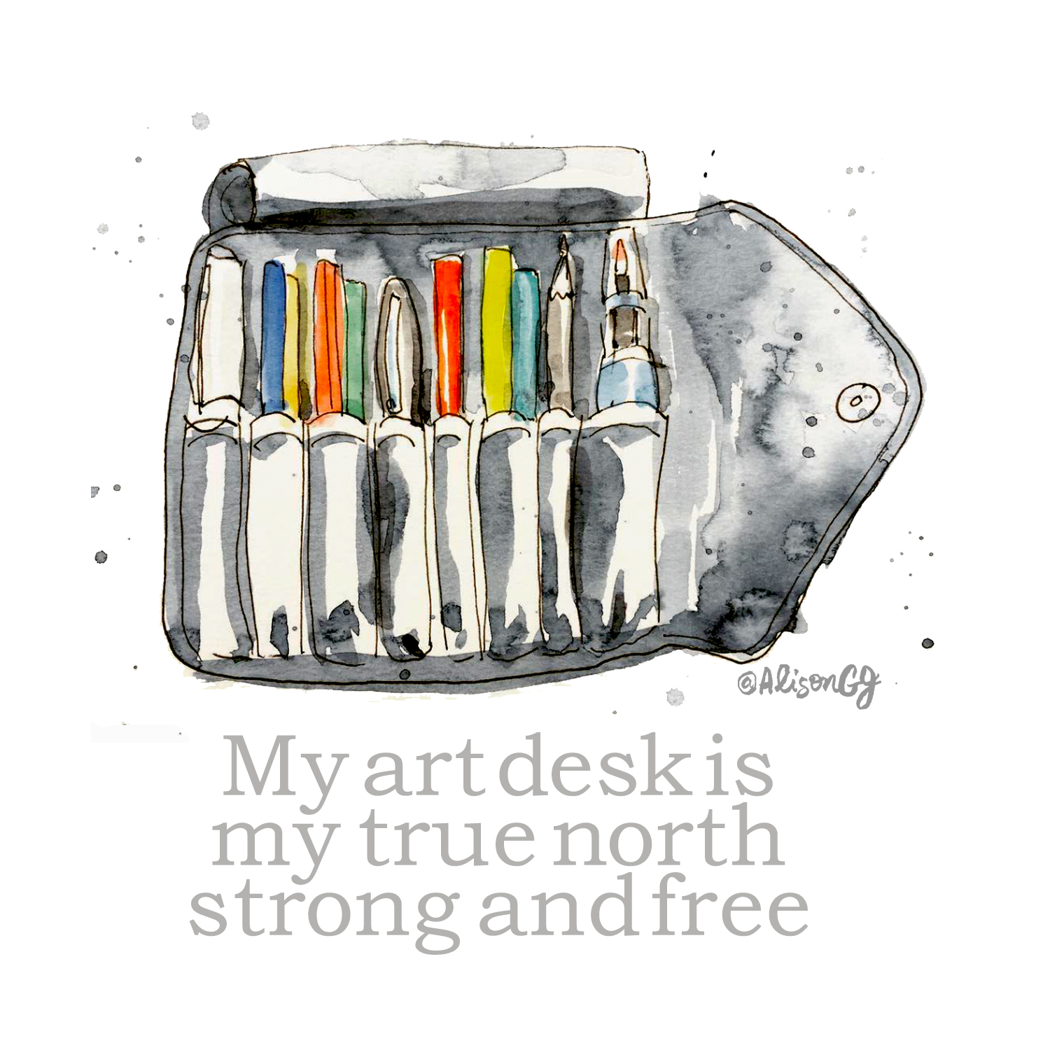 My Art Desk is My True North Strong and Free - illustration by Alison Garwood-Jones