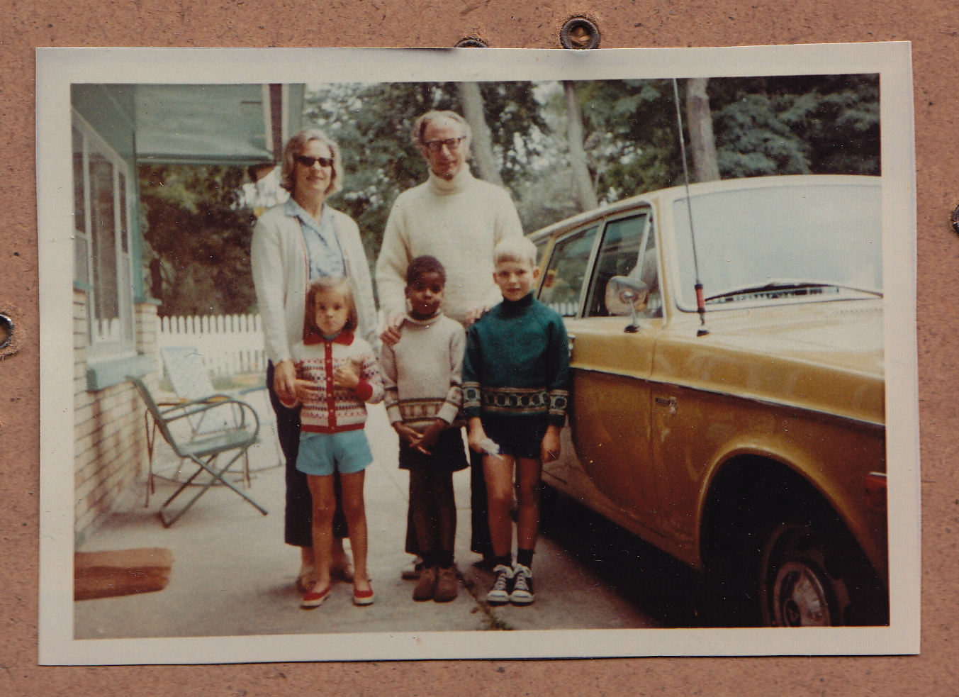 The Garwood-Jones Family (from left to right): Catherine, Alison, Richard, Trevor, Peter and the orange Volvo that took us up to Southampton every summer.