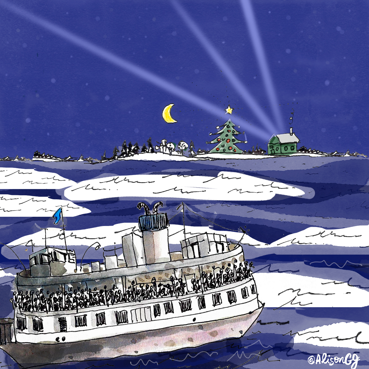 Illustration of the Toronto Island Ferry going over to Ward's Island in the winter. Art by Alison Garwood-Jones