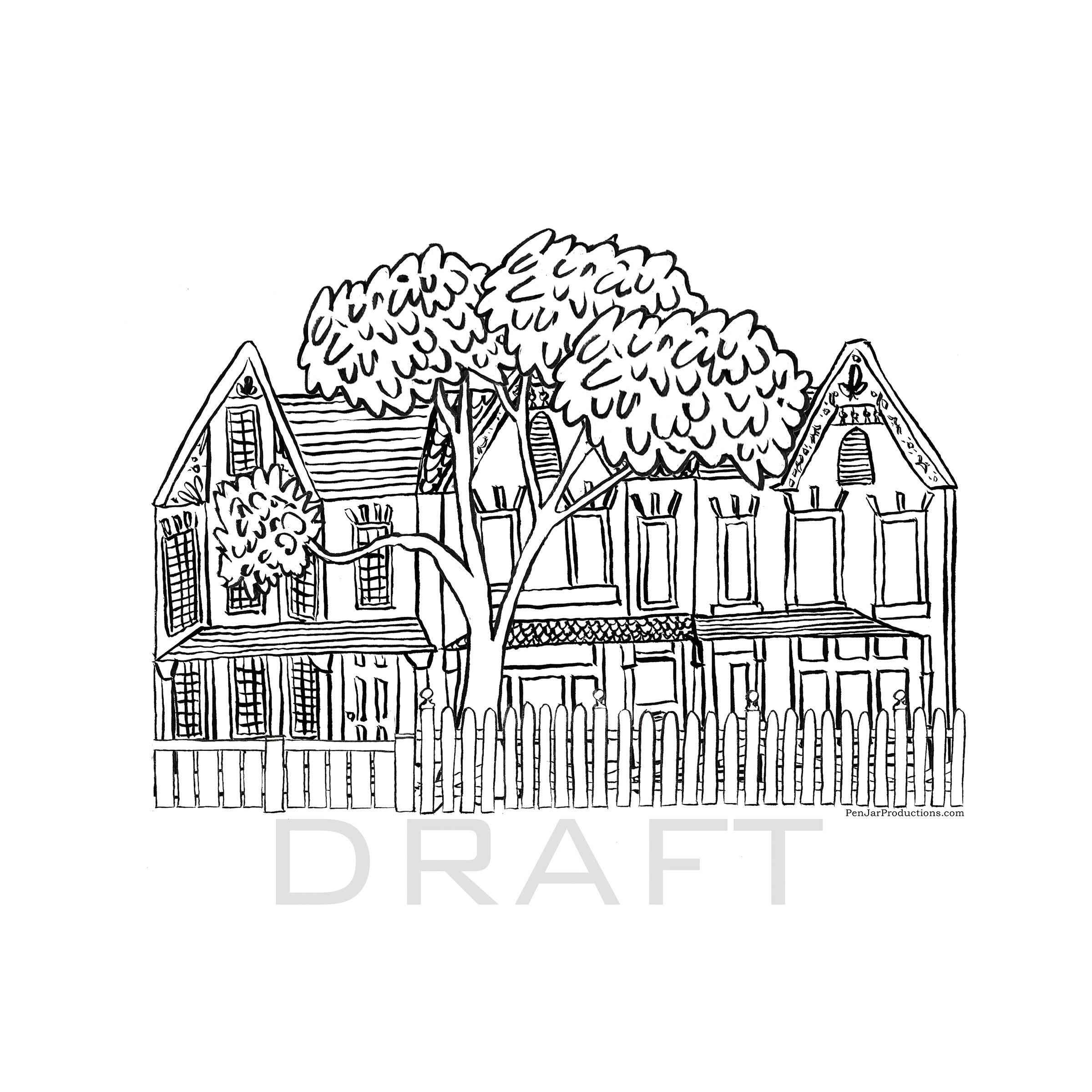 Illustrator Alison Garwood-Jones does a prep sketch for a custom house illustration.