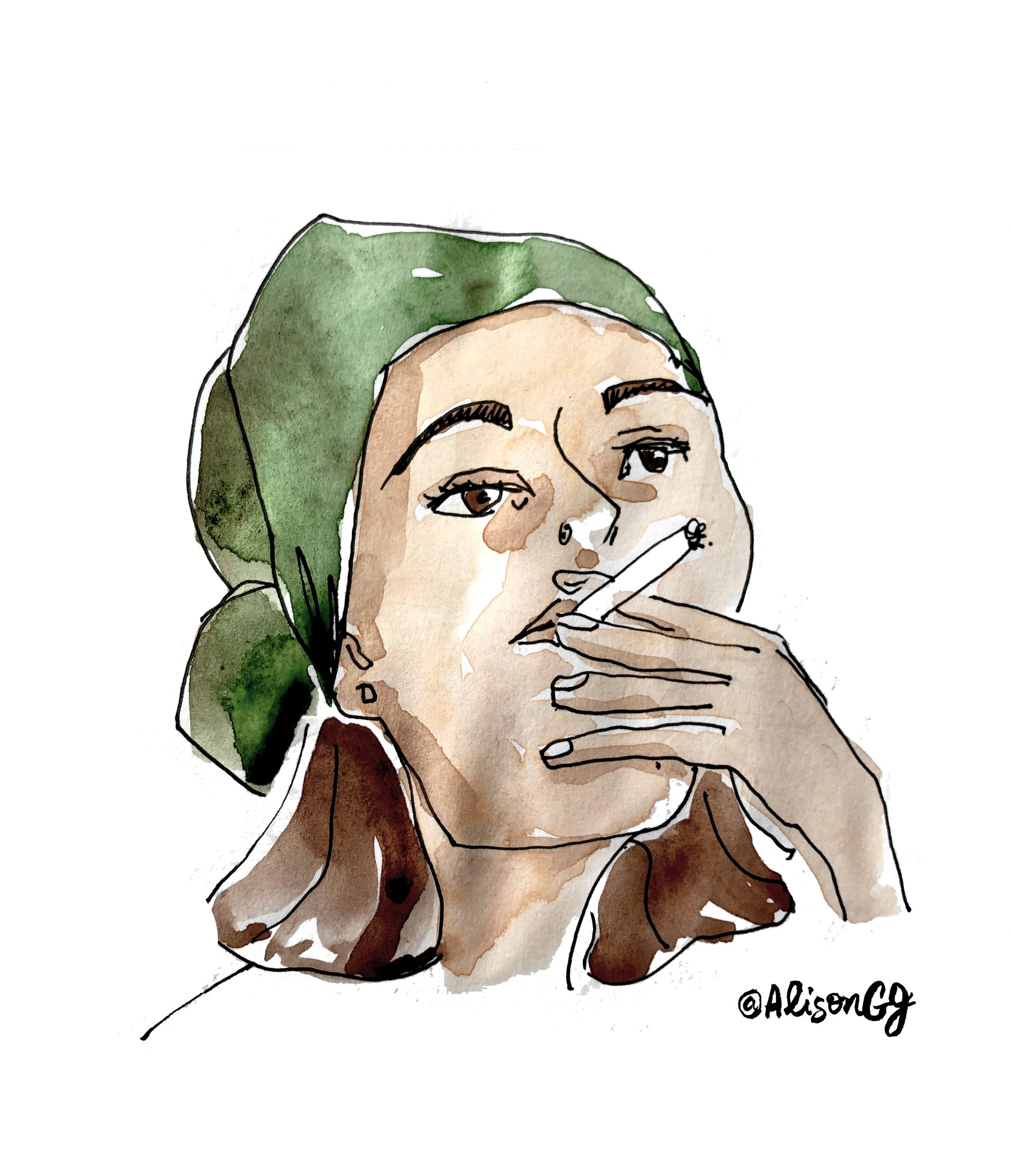 Woman smoking - illustration by Alison Garwood-Jones