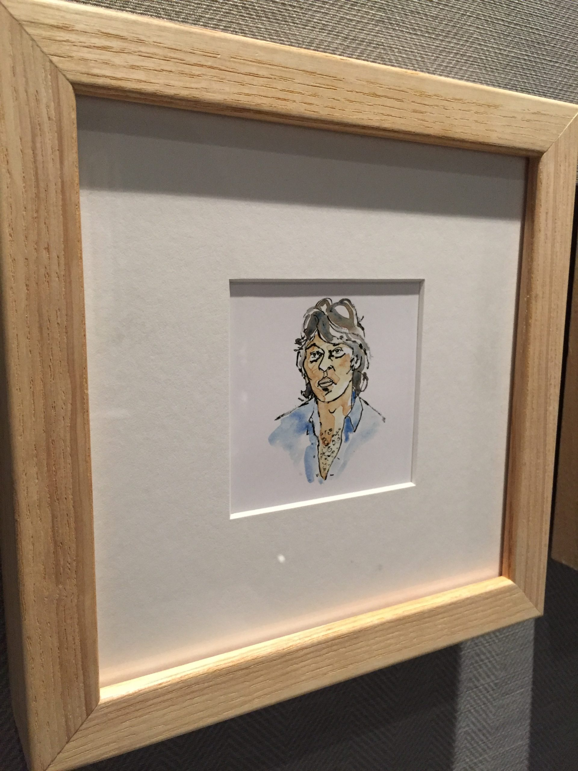 Watercolour portrait of Robbie Robertson by Alison Garwood-Jones