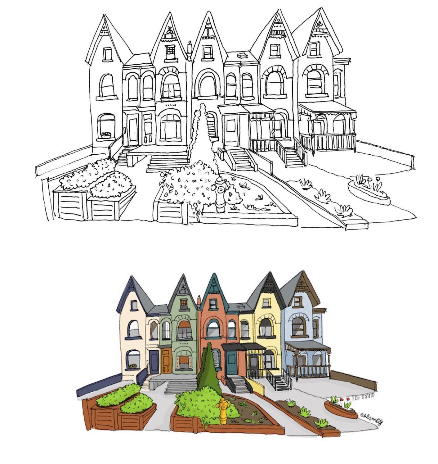 Houses in Toronto's Annex drawn by Alison Garwood-Jones