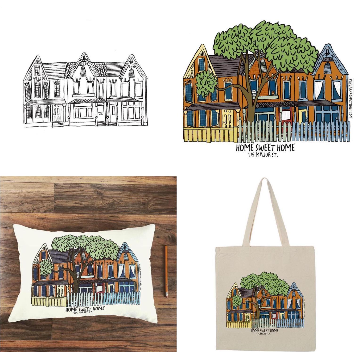 Custom house drawings by Alison Garwood-Jones