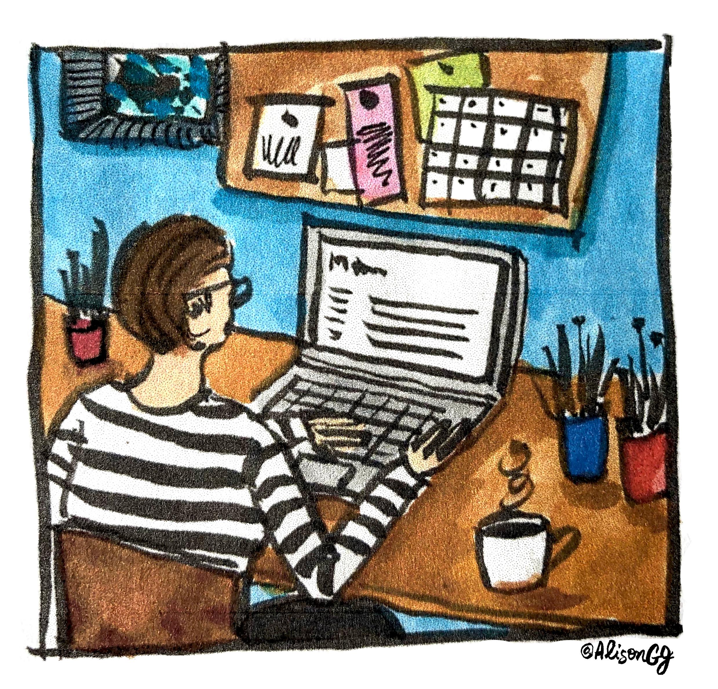 Alison Garwood-Jones at her desk