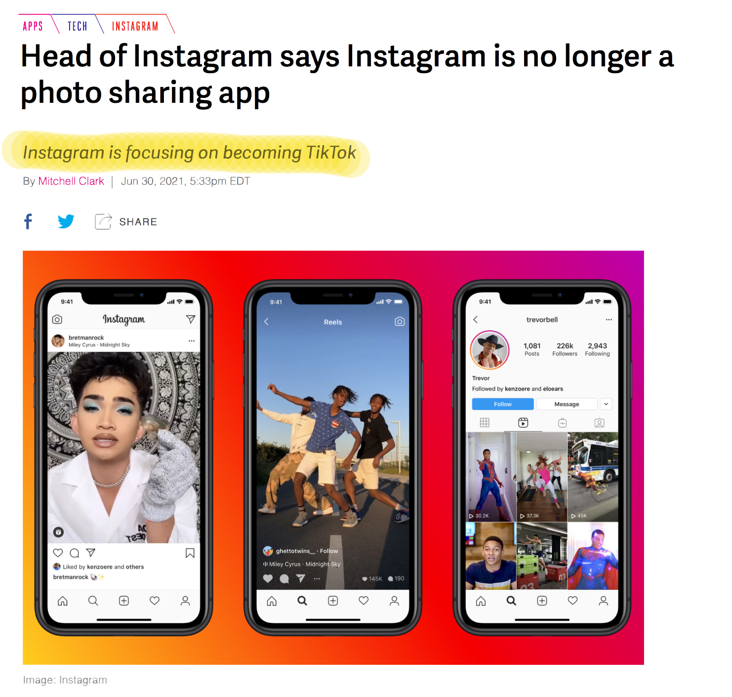 Verge Article on Instagram