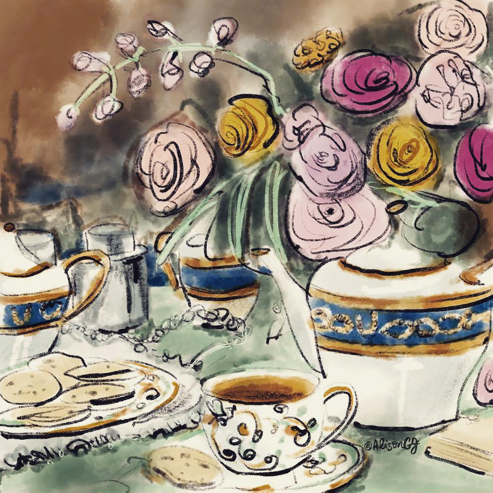 Tea at the Carlyle - Illustration by Alison Garwood-Jones
