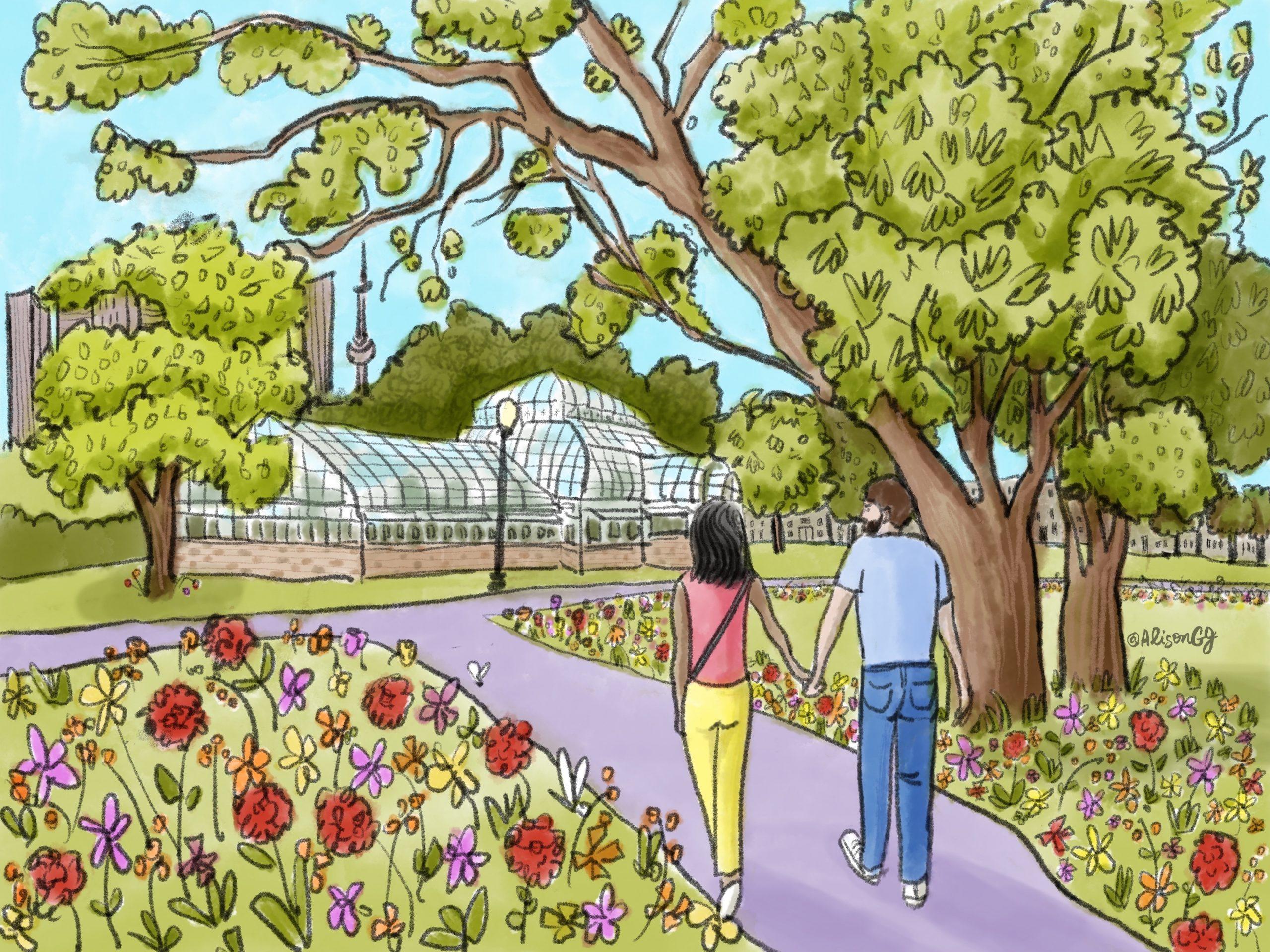 Illustration of a couple walking through Allen Gardens, Toronto by Alison Garwood-Jones