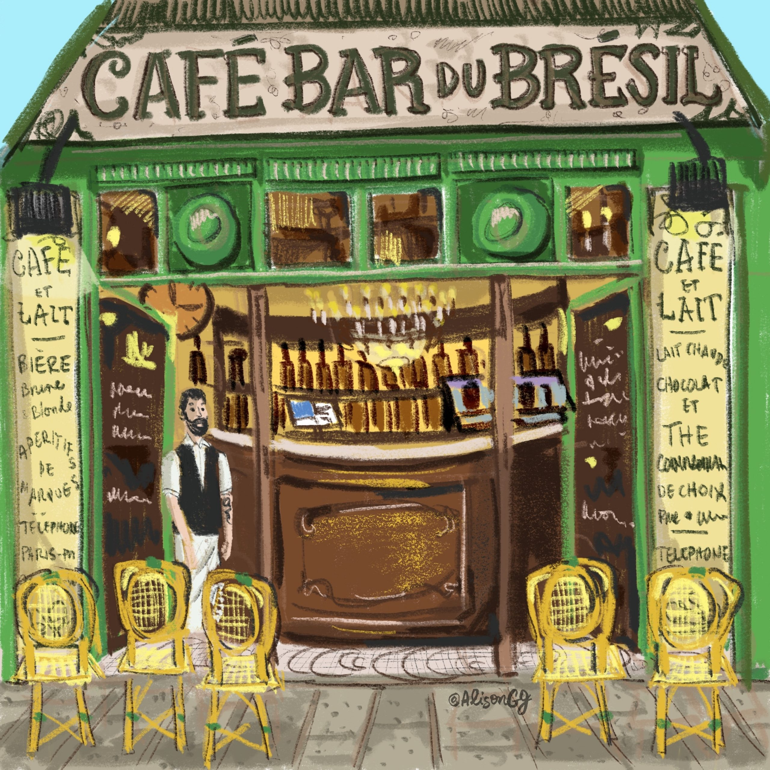 Illustration of Parisian Café by Alison Garwood-Jones