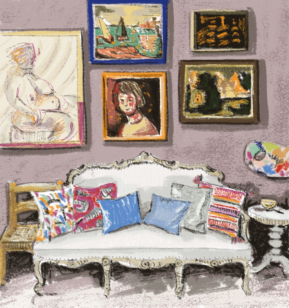 French Interior illustration by Alison Garwood-Jones