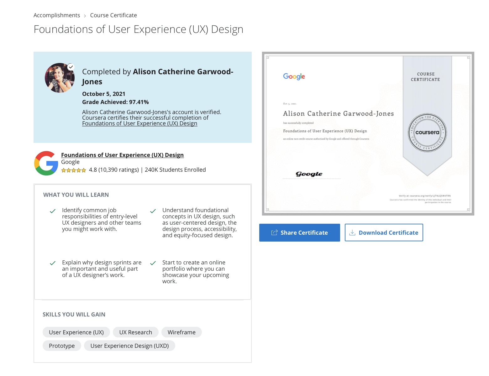 Google Certificate in Foundations of User (UX) Design
